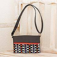 Leather and cotton convertible sling clutch, 'Colors of Jasper' - Black Leather Convertible Sling Bag with Handwoven Jaspe