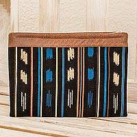 Leather accented cotton clutch, 'Aquatic Reflections' - Leather Accent Cotton Clutch Handbag from Guatemala