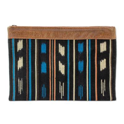 Leather Accent Cotton Clutch Handbag from Guatemala
