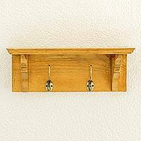 Wood coat rack, 'Hanging Harmony' - Handcrafted Guatemalan Wall-Hanging Wood Coat Rack and Shelf