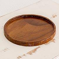 Wood tray, 'Natural Circle' - Hand Carved Round Conacaste Wood Tray from Guatemala