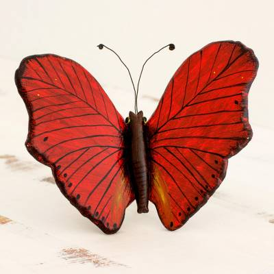 Ceramic sculpture, 'Red Monarch Butterfly' - Hand Crafted Ceramic Red Monarch Butterfly Sculpture