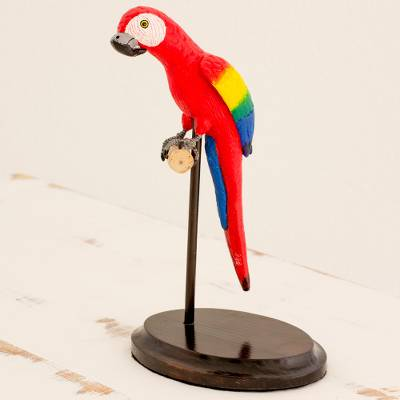 Ceramic and wood sculpture, 'Tropical Scarlet Macaw' - Guatemalan Ceramic and Pinewood Scarlet Macaw Sculpture