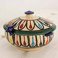 Ceramic covered bowl, 'Multicolored Hen' - Hand Made Multicolored Covered Hen Bowl from Guatemala