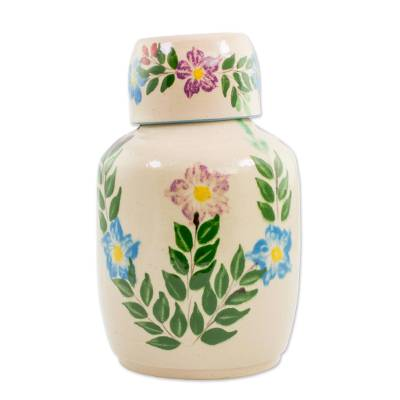 Handcrafted Floral Ceramic Decanter and Cup from Guatemala