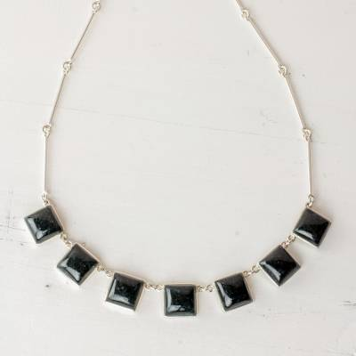 Jade pendant necklace, 'Mayan Eternity' - Handcrafted Silver and Dark Green Guatemalan Jade Necklace