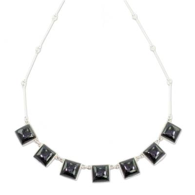 Handcrafted Silver and Dark Green Guatemalan Jade Necklace