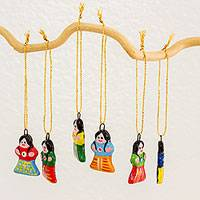 Ceramic ornaments, 'Chapina Christmas' (set of 6) - Set of Six Ceramic Ornaments of Women from Guatemalan