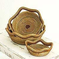 Pine needle baskets, 'Fertile River' (set of 3) - Hand Crafted Pine Needle Baskets (Set of 3) from Nicaragua