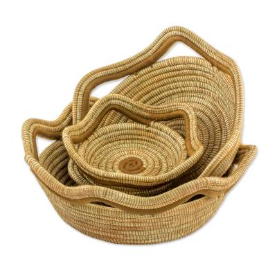 Hand Crafted Pine Needle Baskets (Set of 3) from Nicaragua