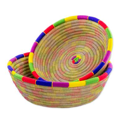 Round Multicolored Pine Needle Baskets (Pair) from Nicaragua