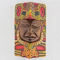 Wood mask, 'Keej' - Handcrafted Wood Wall Mask with Deer Design from Guatemala