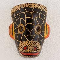 Wood mask, 'Mayan Monkey' - Hand Carved and Painted Guatemalan Wood Monkey Mask
