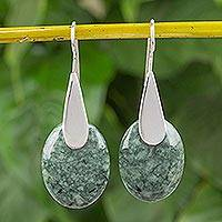 Jade drop earrings, 'Mayan Astronomy' - Oval Jade and Sterling Silver Drop Earrings from Guatemala