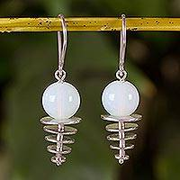 Opal dangle earrings, 'Orb Discs' - Sterling Silver and Opal Dangle Earrings from Nicaragua