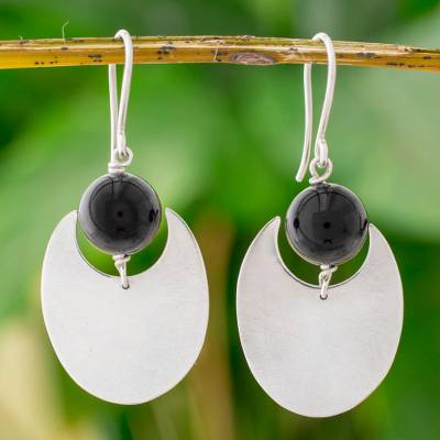 Onyx dangle earrings, 'Dark Eclipse' - Onyx and Sterling Silver Dangle Earrings from Nicaragua