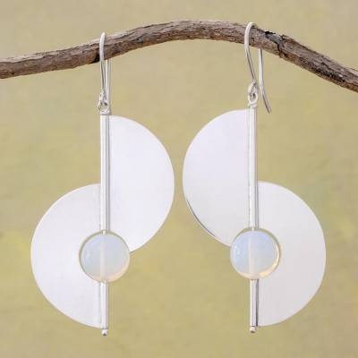 Opal dangle earrings, 'Modern Half-Moons' - Opal and Sterling Silver Modern Earrings from Nicaragua