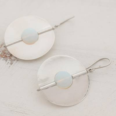 Opal dangle earrings, 'Full Moons' - Opal and Sterling Silver Dangle Earrings from Nicaragua
