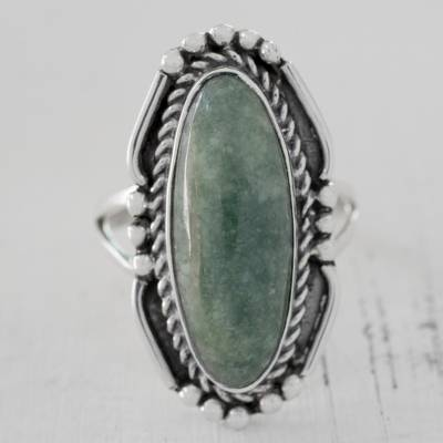 silver and diamond pendant - Oval Green Jade Cocktail Ring from Guatemala