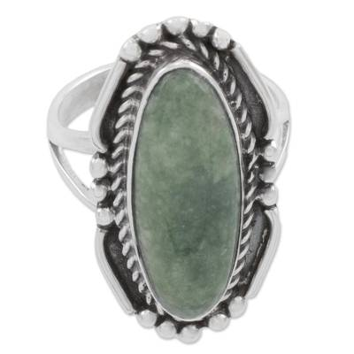 Oval Green Jade Cocktail Ring from Guatemala