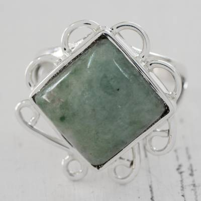 silver shop rings - Green Jade Square Cocktail Ring from Guatemala