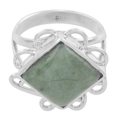 Green Jade Square Cocktail Ring from Guatemala