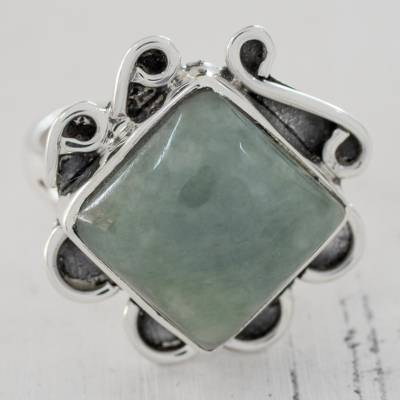 large silver earring backs - Light Green Jade Square Cocktail Ring from Guatemala