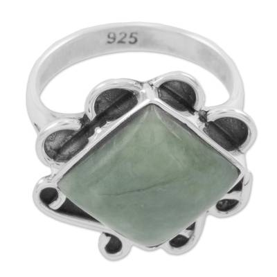 Light Green Jade Square Cocktail Ring from Guatemala