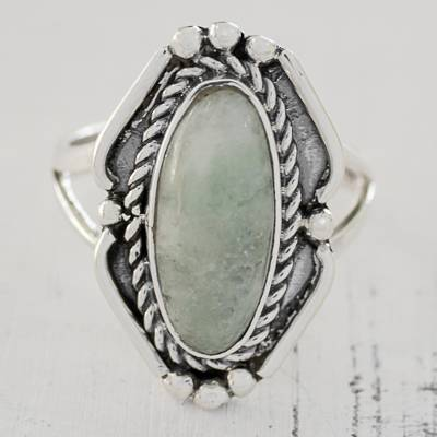mens silver ring designs online - Light Green Jade Oval Cocktail Ring from Guatemala