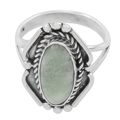 Light Green Jade Oval Cocktail Ring from Guatemala