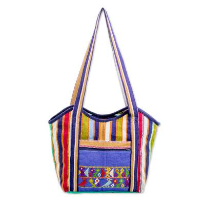 Hand Woven Striped Cotton Tote Handbag from Guatemala