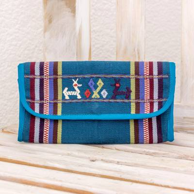 Cotton wallet, 'Deer of the Forest' - Hand Woven Cotton Coin Purse in Teal from Guatemala