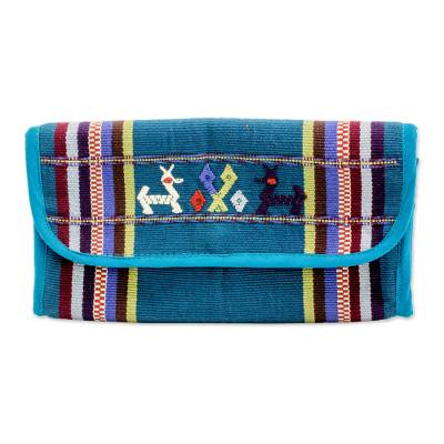 Hand Woven Cotton Coin Purse in Teal from Guatemala