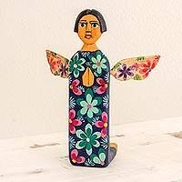 Wood sculpture, 'Sky Angel' - Hand Carved and Painted Wood Angel Sculpture from Guatemala