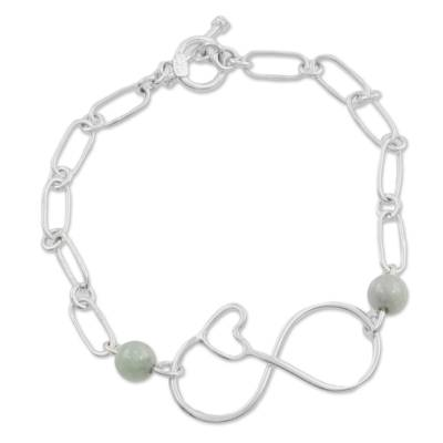 Jade and Sterling Silver Pendant Bracelet from Guatemala