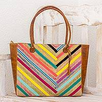 Leather and cotton tote bag, 'Weaving Colors' (Guatemala)