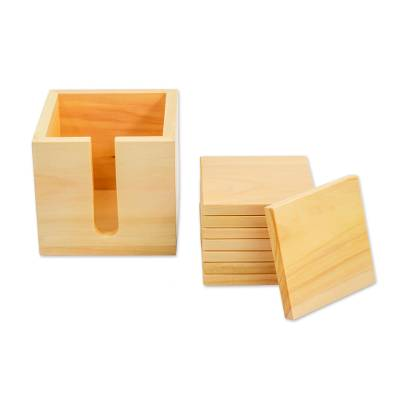 Eight Handcrafted Guatemalan Cypress Wood Coasters and Box