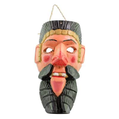 Wood mask, 'Conquistador Dancer' - Spanish Conquistador Pinewood Dance Wall Mask from Guatemala