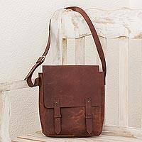Leather messenger bag, 'Casual Voyage' - Handcrafted Leather Messenger Bag in Chestnut from Nicaragua