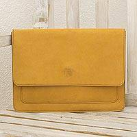 Leather portfolio, 'Traveler in Amber' - Handcrafted Leather Document Case in Amber from Nicaragua