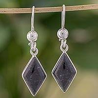 Jade dangle earrings, 'Dark Verdant Diamond' - Very Dark Green Jade and Sterling Silver Dangle Earrings