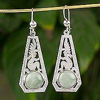 Jade dangle earrings, 'Light Green Mayan Ancestor' - Light Green Jade Mayan Dangle Earrings from Guatemala