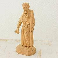 Cedar wood statuette, 'Holy Brother Peter' - Guatemalan Religious Art Statuette of Holy Brother Peter