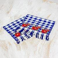 Cotton napkins, 'Sweet Flowers' (pair) - Pair of Handwoven Floral Cotton Napkins from Guatemala