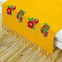 Cotton table runner, 'Honey Advent' - Hand Woven Floral Table Runner in Honey from Guatemala