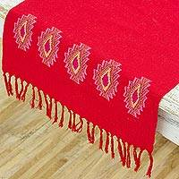 Cotton table runner, 'Geometric Conquest in Chili' - Handwoven Cotton Table Runner in Chili from Guatemala