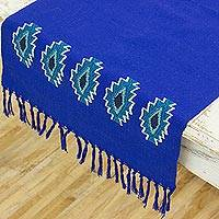 Cotton table runner, 'Geometric Harvest' - Handwoven Cotton Table Runner in Sapphire from Guatemala