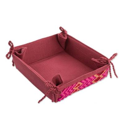 Handwoven Cotton Serving Basket in Cranberry from Guatemala