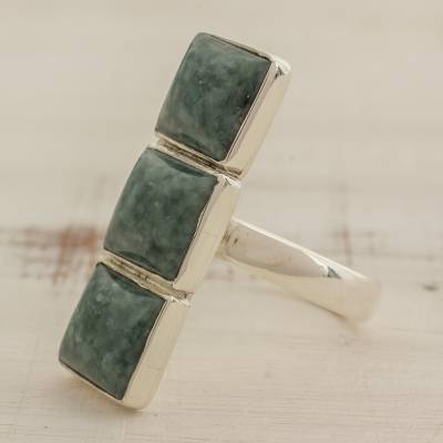 birthstone ring colors - Square Jade and Sterling Silver Cocktail Ring from Guatemala