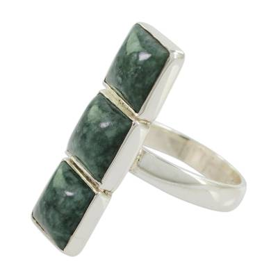 Square Jade and Sterling Silver Cocktail Ring from Guatemala